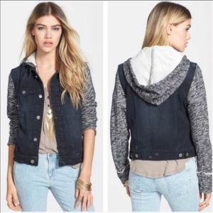 Free people denim hooded jacket size small